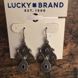 Lucky Brand earrings Boho antique silver finish